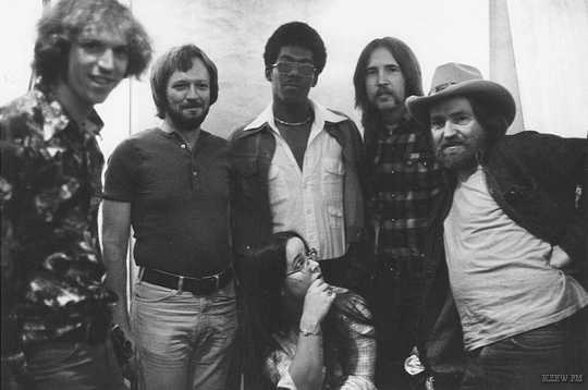 b8e2a8c2 Pictured left to right are KZEW's Ira Lipson, January Sound Studio engineer  Bob Pickering, KZEW's Mike Taylor & Mark Addy, Willie Nelson and Tracy  Nelson ...
