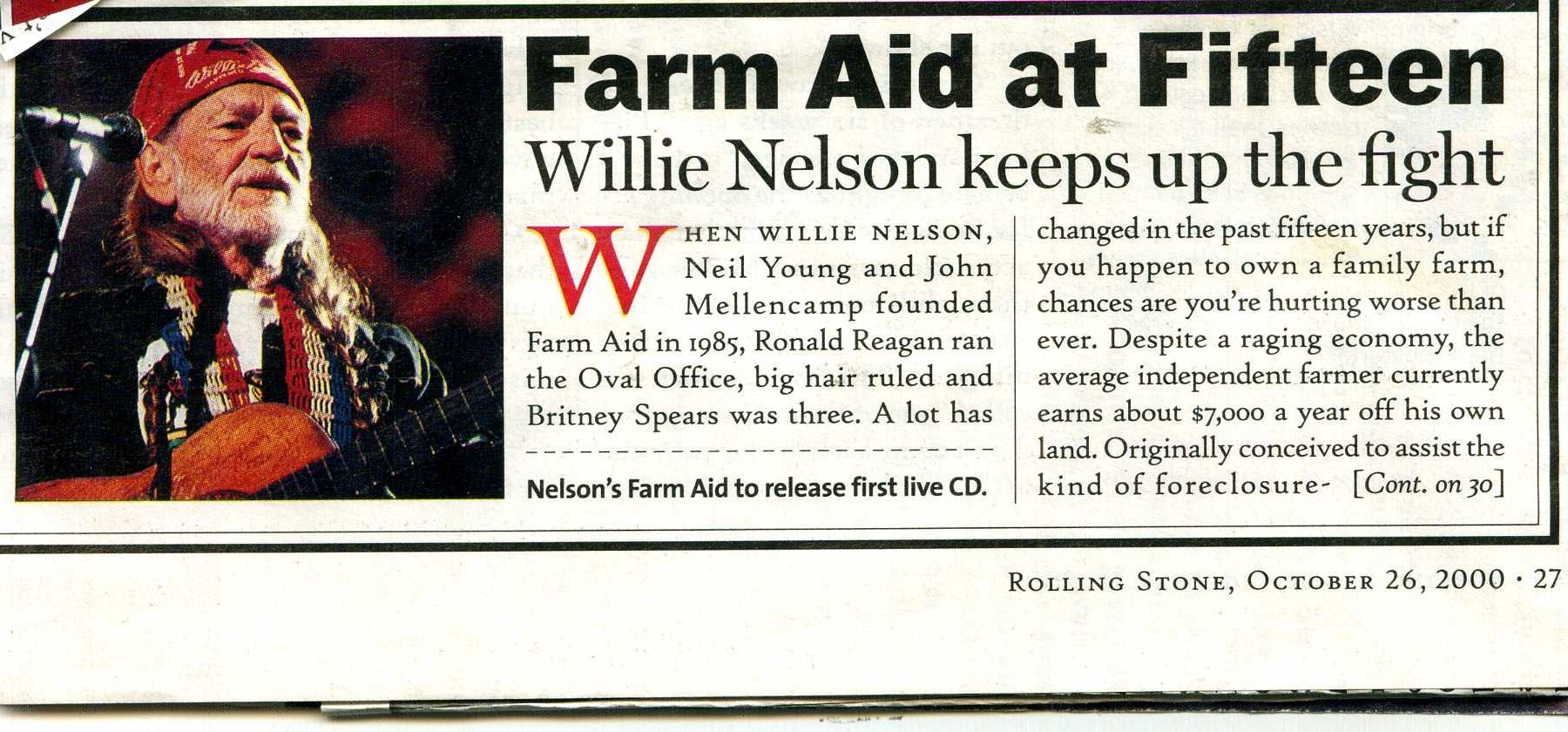 This Day In Willie Nelson History Farm Aid 2000 Bristow