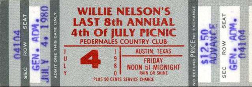 "scan of a July 4, 1980 Willie Nelson picnic ticket  --  Credit required: From the collection of Buddy ""Budrock"" Prewitt"