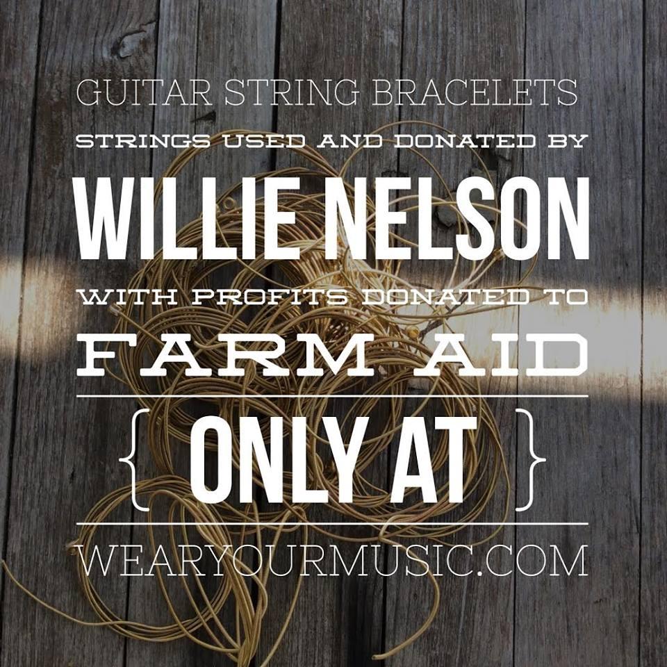 willie nelson guitar string bracelet 100 of profits benefit farm aid. Black Bedroom Furniture Sets. Home Design Ideas