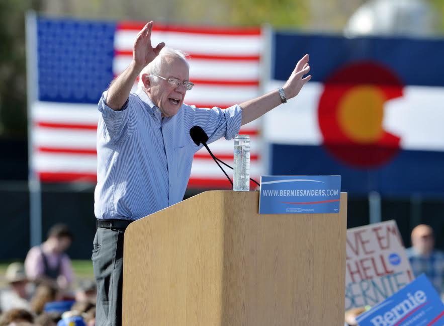 Presidential candidate Bernie Sanders  speaks during the rally at the University of Colorado's Potts Field on Saturday.David R. Jennings Staff PhotographerOctober 10, 2015For more photos please go to dailycamera.com.