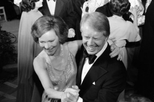 Photograph of President Jimmy Carter and First Lady Rosalynn Carter dancing at a White House Congressional Ball. Photographed by Marion S. Trikosko. Dated 1977. (Photo by: Universal History Archive/UIG via Getty Images)