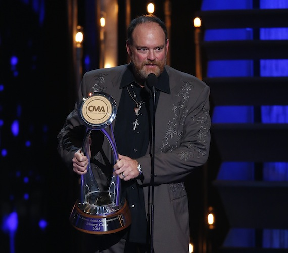 John Carter Cash accepts award for Johnny Cash who wins Willie Nelson Lifetime Achievement Award Award at ìThe 49th Annual CMA Awards,î live Wednesday, Nov. 4 at the Bridgestone Arena in Nashville and broadcast on the ABC Television Network.
