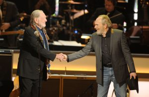 LAS VEGAS, NV - MARCH 10:  Recording artists Willie Nelson and Merle Haggard perform during the opening night of The Smith Center for the Performing Arts on March 10, 2012 in Las Vegas, Nevada.  (Photo by Ethan Miller/Getty Images for The Smith Center)