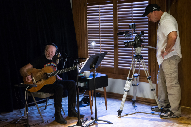 Austin, TX - Willie Nelson tapes a piece in the Pedernales Recording Studio for the US premiere of the Irish music series Other Voices on October 3, 2016. Suzanne Cordeiro for American-Statesman