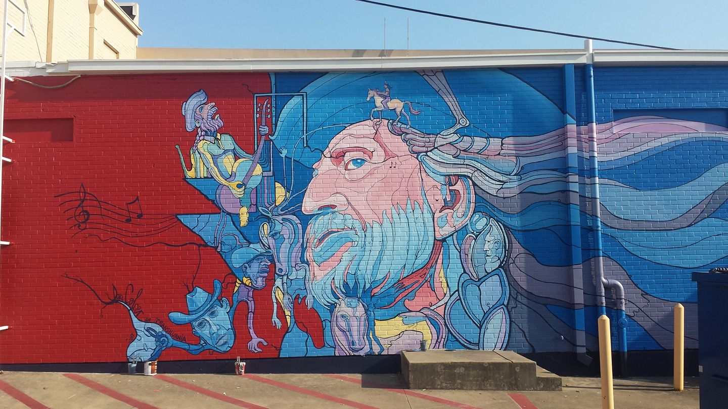 Willie nelson art in dallas by dan colcer www for Dallas mural artists